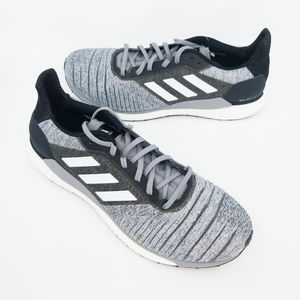 Adidas Mens Solar Glide Grey Lace Up Running Shoes